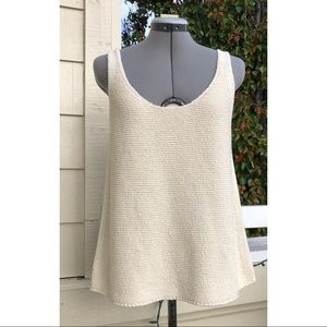 VINCE. Textured Knit Cotton Tank Top Ivory Cream